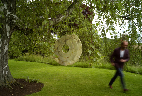 On-form sculpture, Bi-disc in tree